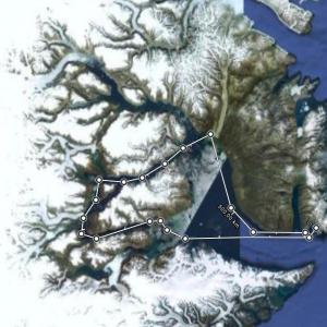 Route approximative dans le Scoresbysund. © Google maps