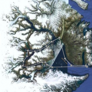 Route approximative dans le Scoresbysund. © Google maps